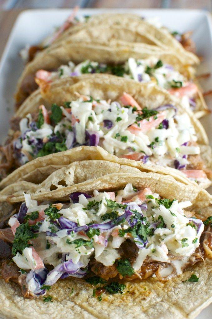 Barbecue Pork Tacos with Honey Mustard Slaw   www.stuckonsweet.com
