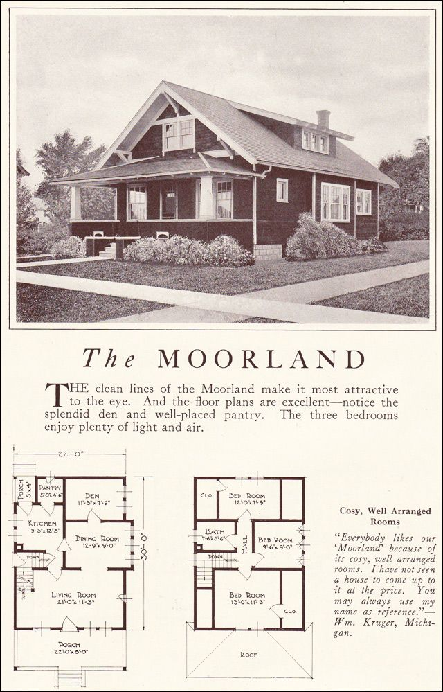 Classic bungalow 1922 moorland lewis manufacturing for Classic cottage house plans