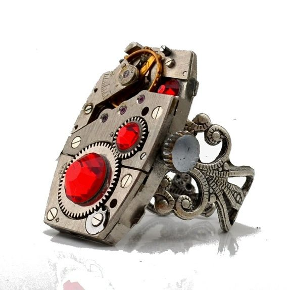 Steampunk ring .rød