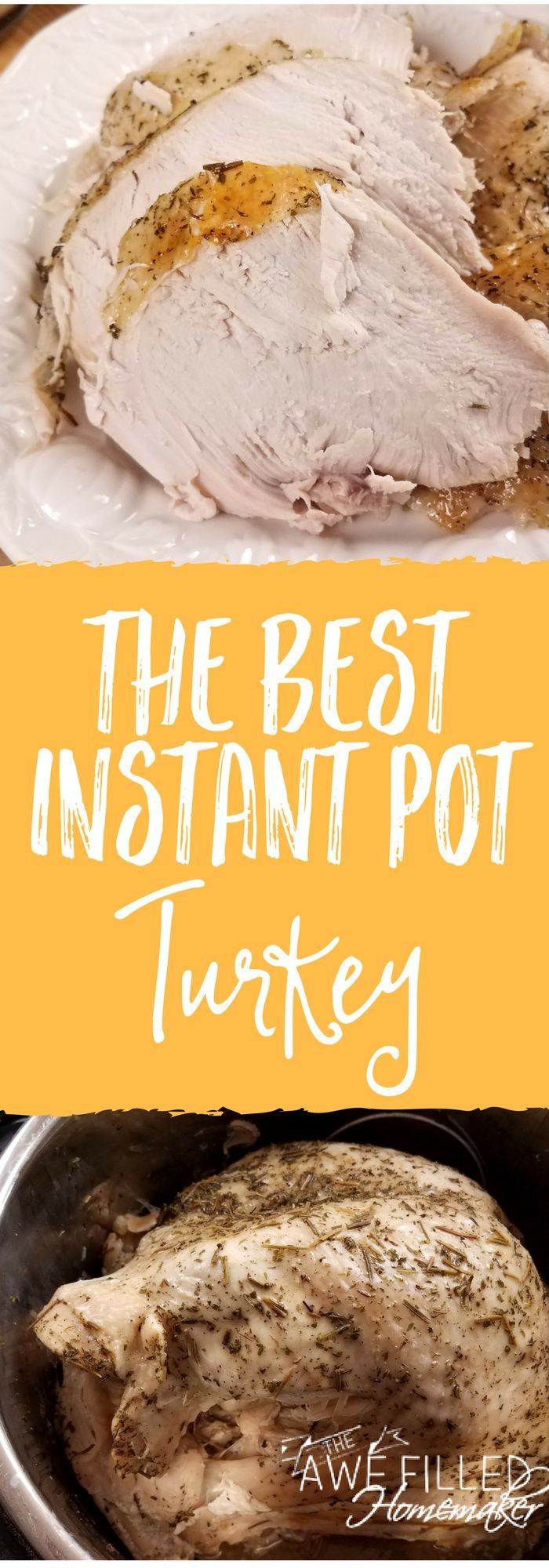 The holidays are just around the corner! That means turkey! All the turkeys! Well, y'all will want to try this instant pot turkey and gravy! It is the BEST! YUM #Thanksgiving #Christmas #Turkey #Turkey Recipe #InstantPot #InstantPotTurkey via @AFHomemaker