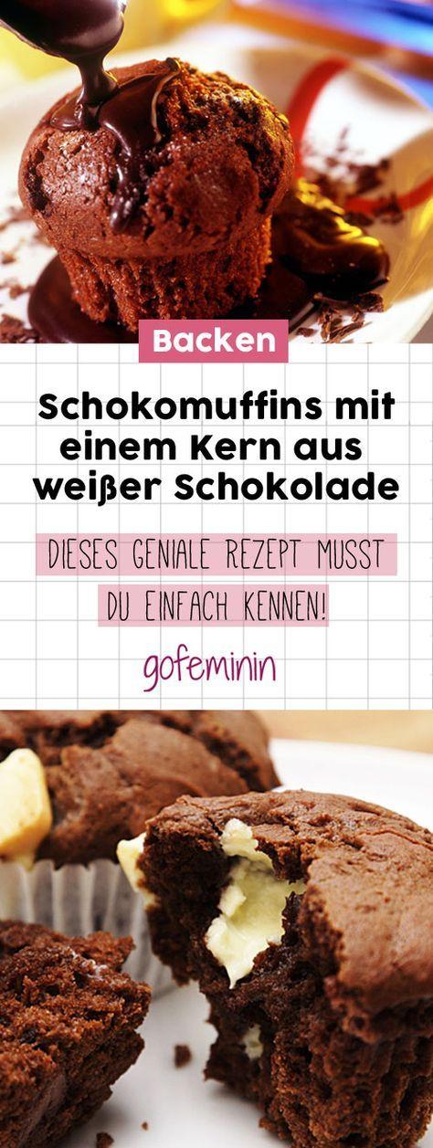So lecker: Dieses Rezept für die Schokomuffins mit einem Kern aus weißer Schokolade musst du einfach kennen!