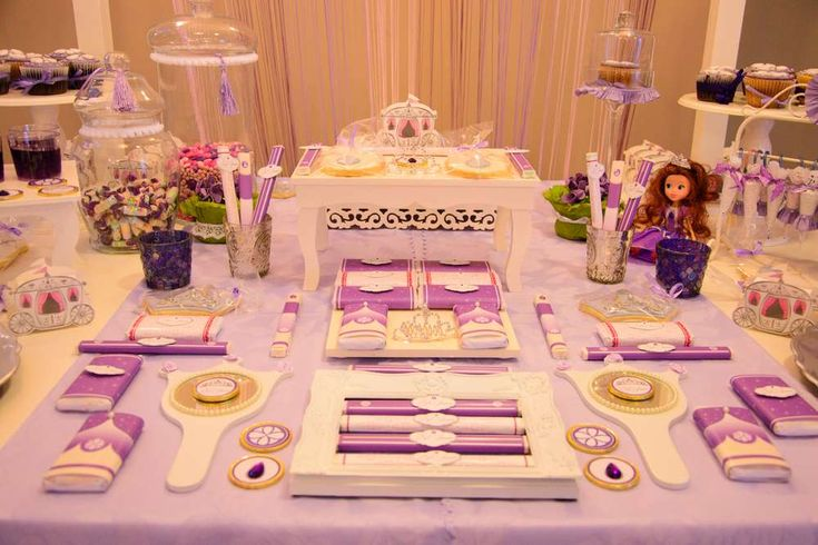 Princess Sofía birthday party dessert table! See more party ideas at CatchMyParty.com!