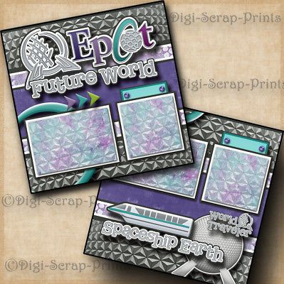 DISNEY EPCOT ~ 2 premade scrapbook pages layout paper piecing printed DIGISCRAP