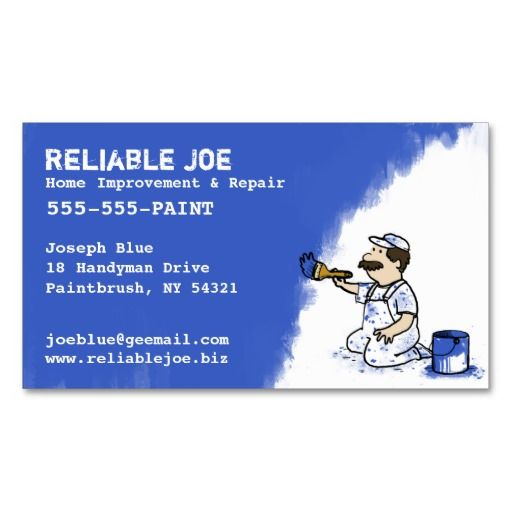 218 best painter business cards images on pinterest business cards painter painting blue paint business card templates reheart Image collections
