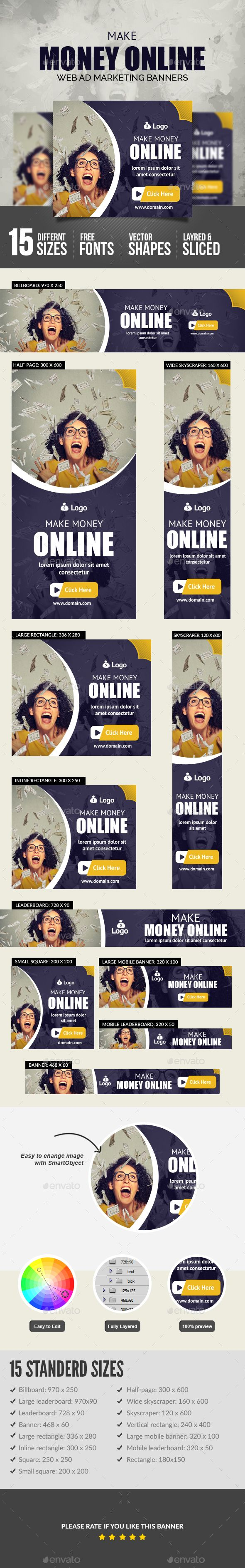 Make Money Online Banners Design Template  - Banners & Ads Web Elements Design Template PSD. Download here: https://graphicriver.net/item/make-money-online-banners/19218323?ref=yinkira