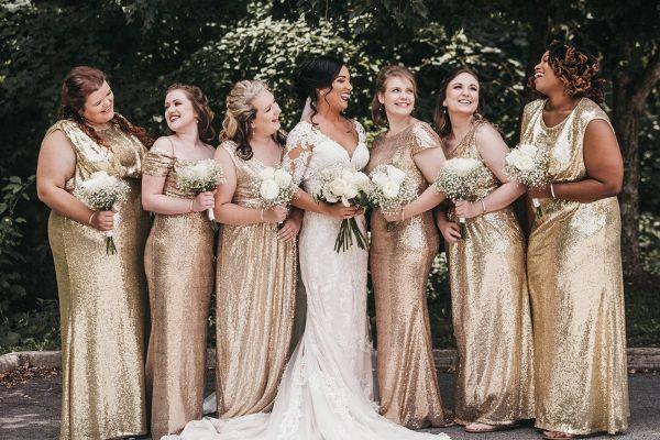 Classic Glam Wedding Gold Sequin Bridesmaid Dress Glamorous Wedding Bridesmaids Dress Inspiration