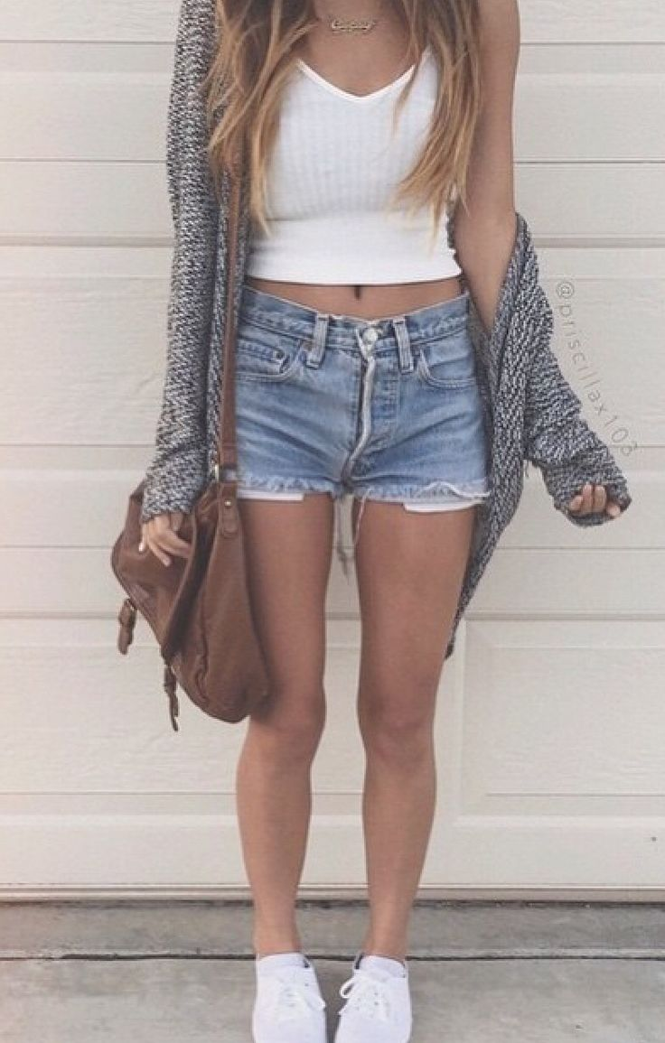 White Crop Top | Grey Knitted Cardigan | High Wasted Jean Shorts | White Shoes | Brown Fuzz ...