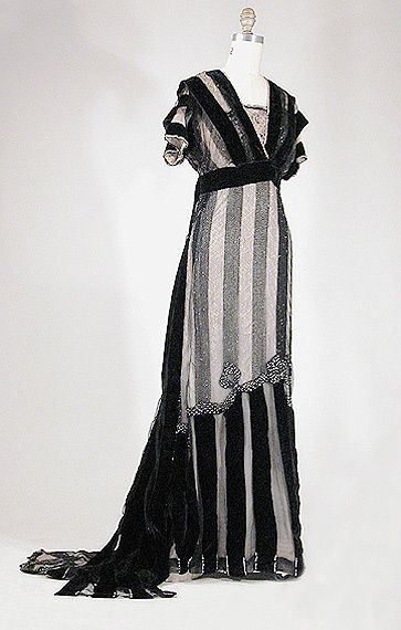 Worth Black Embroidered Tulle Evening Dress  French, circa 1910  (love the velvet stripes)