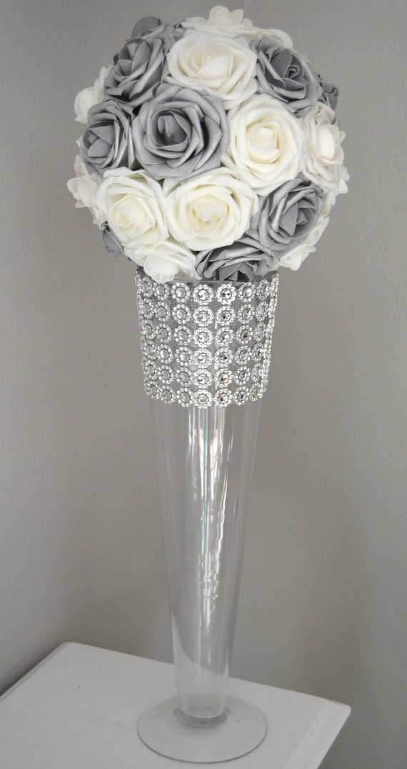 SILVER And WHITE Flower Ball Wedding CENTERPIECE by KimeeKouture