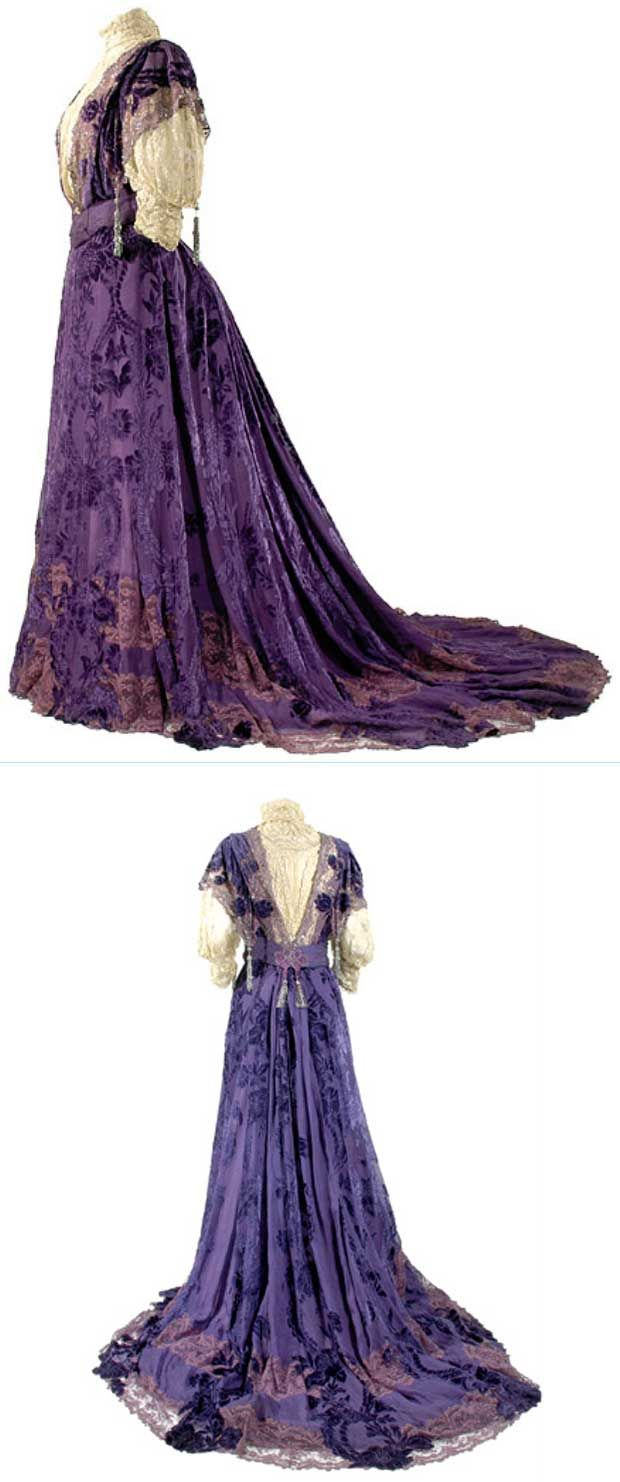 Worth, Deep Iris Coupe des Velours Silk Chiffon Gown, ca. 1903.