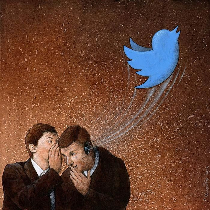 This illustration has some irony to it. The man is telling another person a something secret which is supposed to be kept secret. The Twitter bird flying out of his ear suggests that he doesn't keep a secret; instead he puts it right on Twitter for the whole world to see. This is Horatian.