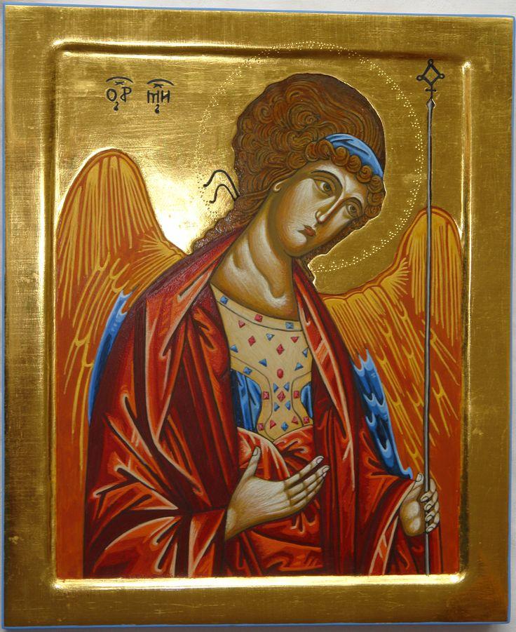 Święty Michał Archanioł, deska z kowczegiem 20x35, złoto na pulment, Pracownia Ikon Serca Jezusowego w Tarnowie Podgórnym