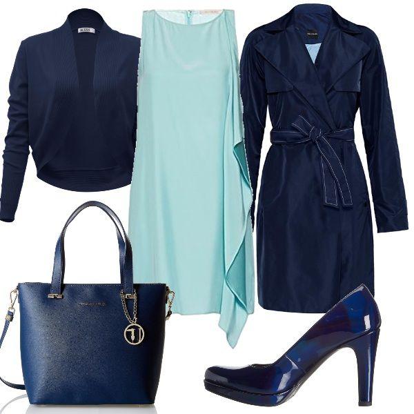 Per questo outfit: vestitino verde acqua morbido con rouche laterale, cappottino blu navy, bolerino blu navy, décolleté di vernice blu e borsa blu Trussardi Jeans.