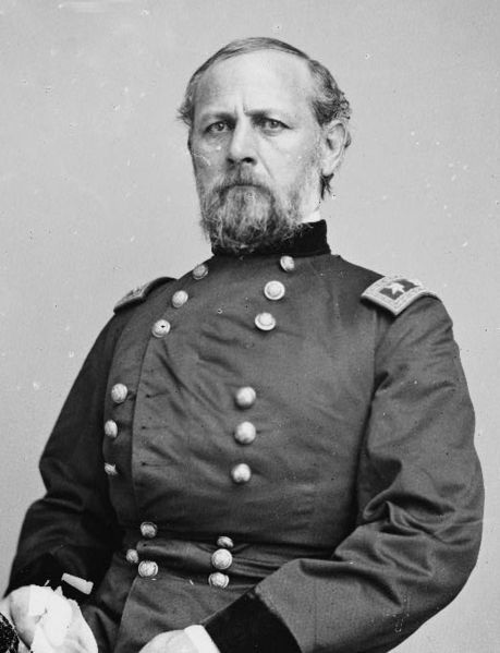 Don Carlos Buell (March 23, 1818 – November 19, 1898) was a career United States Army officer who fought in the Seminole War, the Mexican-American War, & the American Civil War. He led Union armies in two great Civil War battles—Shiloh & Perryville.  Buell Armory on the Univ. of Kentucky campus in Lexington, KY, is named for General Buell.