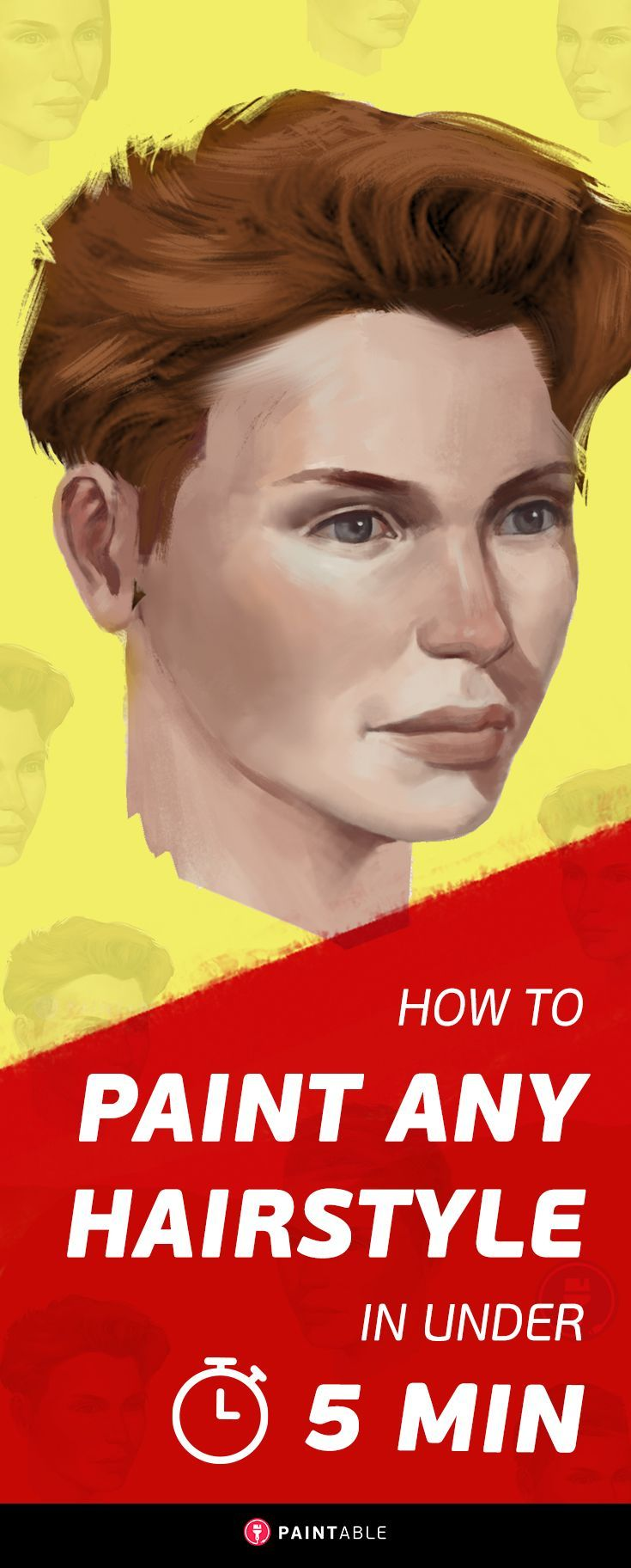 Digital Painting Tutorial: How to Paint ANY Haircut in Under 5 Minutes // via…