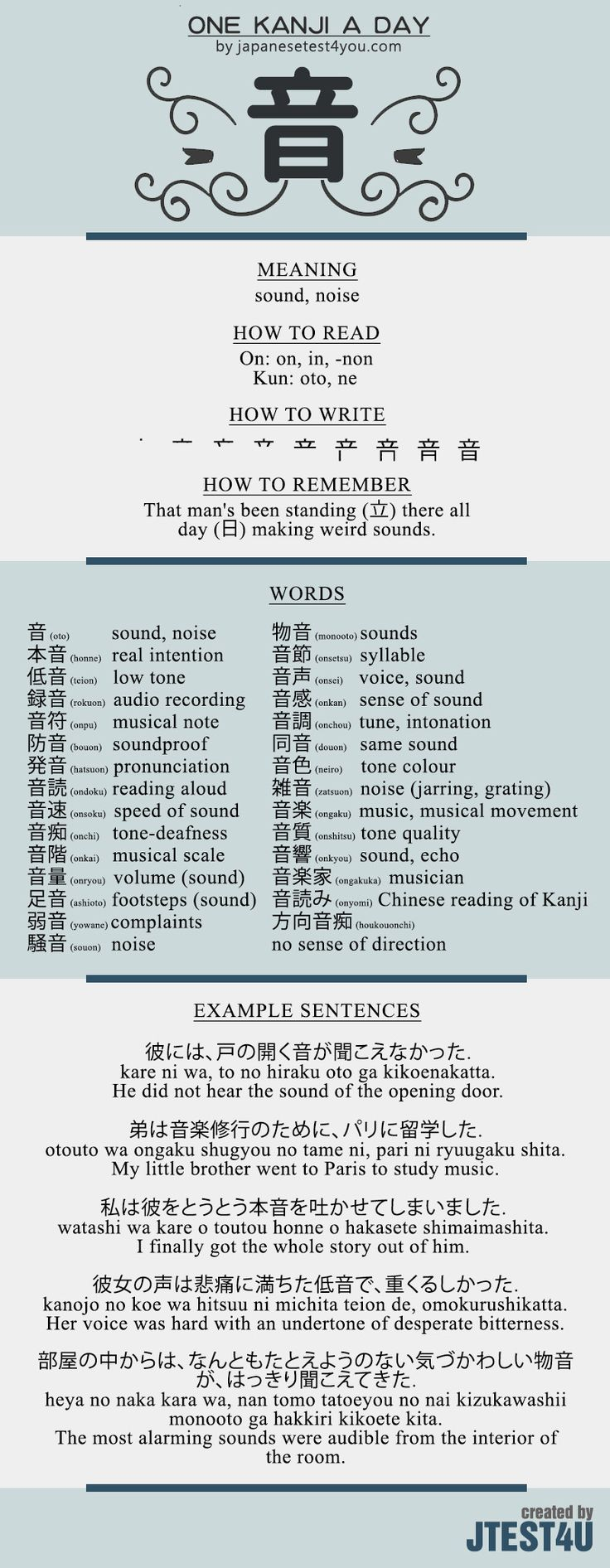 Learn one Kanji a day with infographic - 音 (on): http://japanesetest4you.com/learn-one-kanji-a-day-with-infographic-%e9%9f%b3-on/