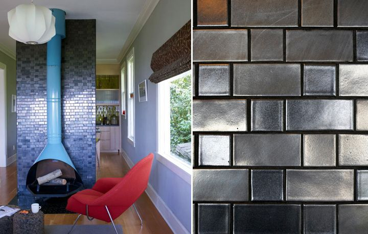 Heath tile fireplace using gunmetal tile from the for Heath tile