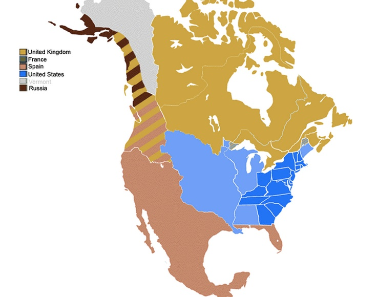 Cascadia in 1790 Map of the Political Divisions of North America