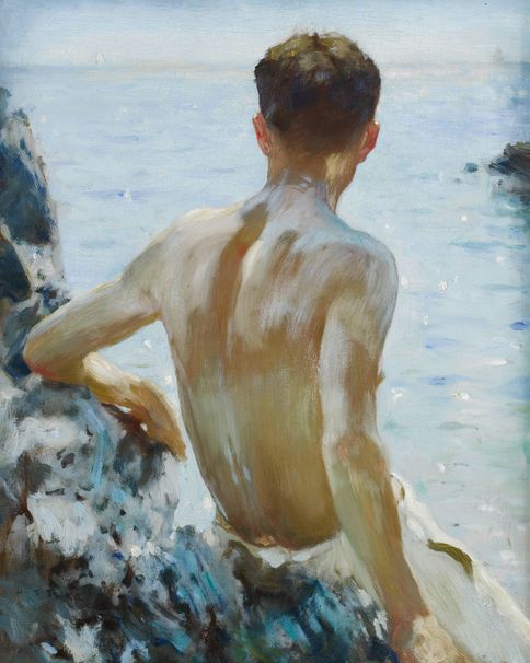 Henry Scott Tuke  Beach Study  1928  40 x 32 cm  ___  This is one of the last paintings Tuke did before he died in March 1929, of the semi-clad male figure by the sea leaning on the rocks, bathed in Cornish sunlight. It features one of his most loyal and longstanding models in Tuke's later years, Charlie Mitchell (1885 – 1957).