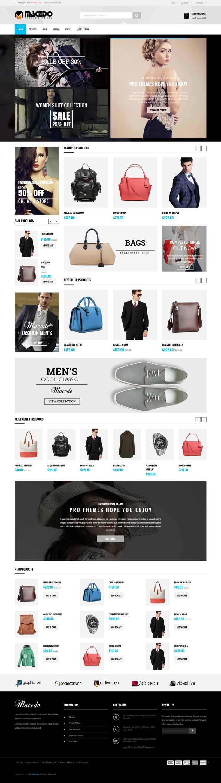 Macedo Fresh and Clean Responsive Magento Theme 2015 #eCommerce #store #website…