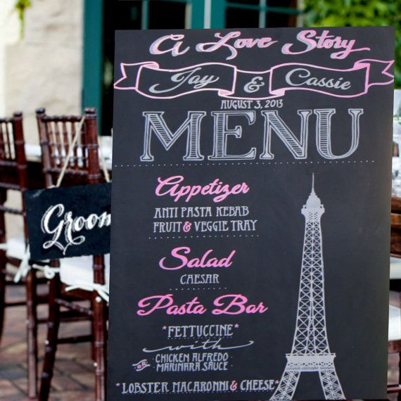 French+Wedding+Menu+Sign+on+Chalkboard++eiffel+tower+by+LBFStudio,+$100.00