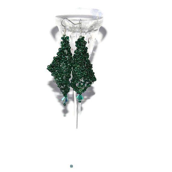 Large green earrings dangle  greenearrings wire by PaintJewels