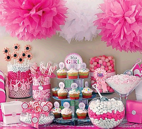 Delightful Lots Of Supercute Itu0027s A Girl Baby Shower Candy Buffet Ideas, In Perfect  Pink And White.