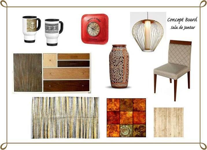 Projeto II - Decoração de Espaço Habitacional Concept Board: Sala de Jantar (Cliente Real) Estilo Rústico (Elementos mexicanos e náuticos)