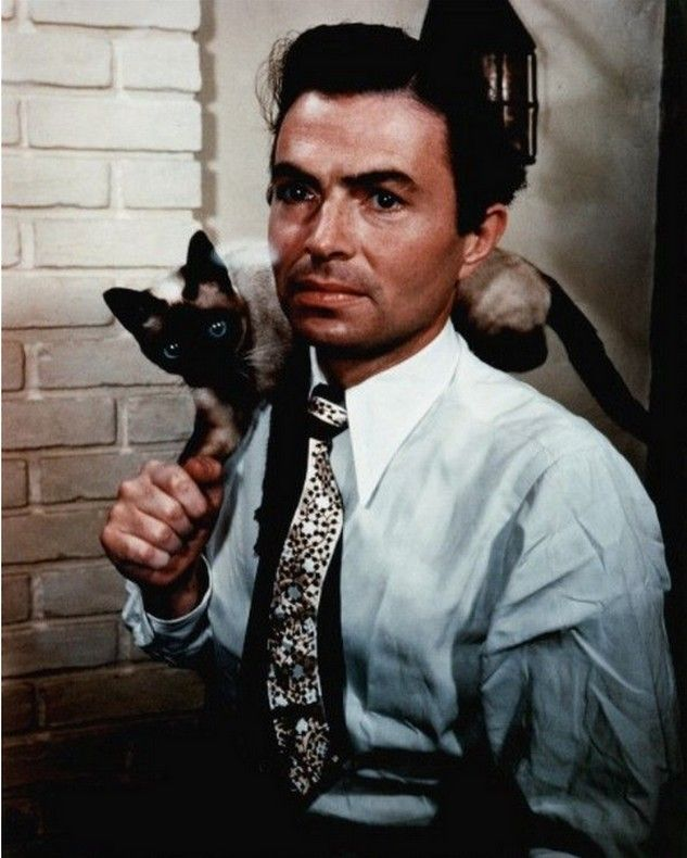 James Mason looking completely cool with a Siamese on his shoulder.
