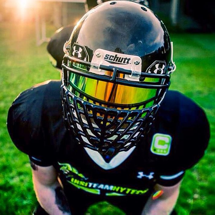 SHOC Iridium Insert in a Clear Under Armour Visor in a Schutt Football Helmet with a Big Grill facemask