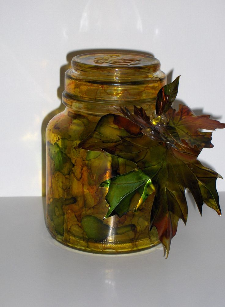 Recycled jar decorated with aluminum leaves and painted with orange and green alcohol inks - $35.00 plus shipping