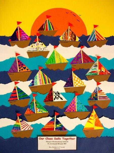 """""""Our class sails together"""" Sailboat Bulletin Board or just a fun boat craft"""