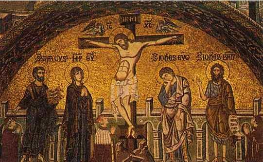 doge Andrea Dandolo in 14th century crucifixion lunette mosaic San Marco, baptistery 'anchoring the scene on either side are figures that speak to the order of the Venetian system: the grand chancellor, representing the citizen class and, like the doge, appointed for life; at the opposite end, the young noble ... We have no doubt as to what Dandolo sees: divine order clearly and graphically set forth in the cupola overhead'  (Pincus in San Marco, Byzantium, and the Myths of Venice 2010)