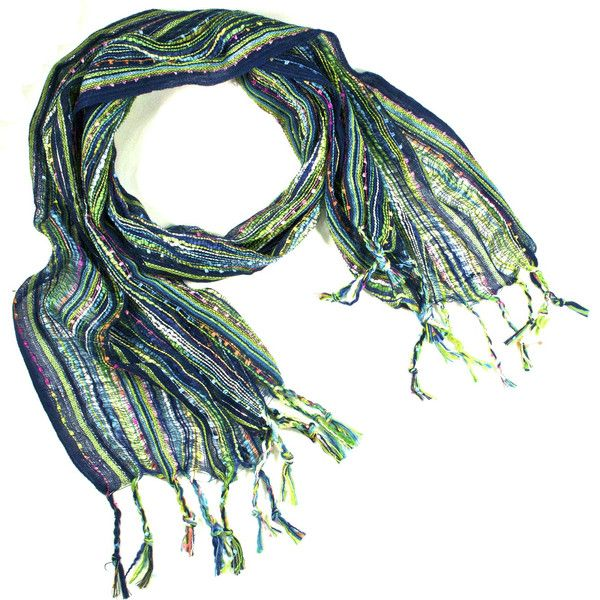 """JJ Caprices - Guatemalan Handwoven Scarf - Navy Blue """"Seahawks Colors"""""""