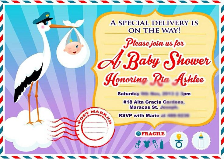 invitation stork theme turquoise and purple baby shower