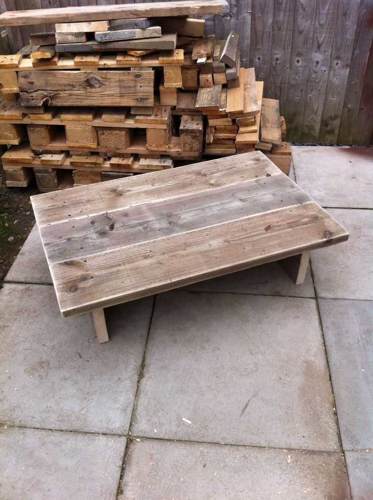 Low down coffee table. Made from scaffold planks. Unfinished, just sanded.