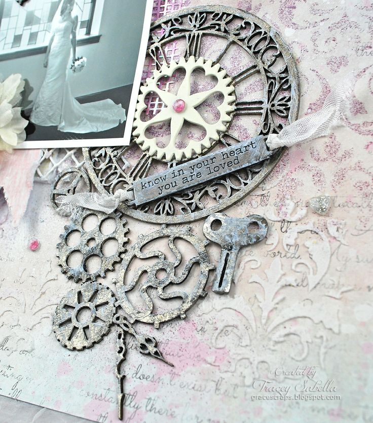 """""""You Are Loved"""" Layout by Tracey Sabella ~ DT for Leaky Shed Studio with Stained Glass Chipboard Tutorial - Close-Up: Watch Parts, Clock #2 - Small, Tim Holtz Word Band, Prima Heart Gear, Watch Key, Mixed Media"""