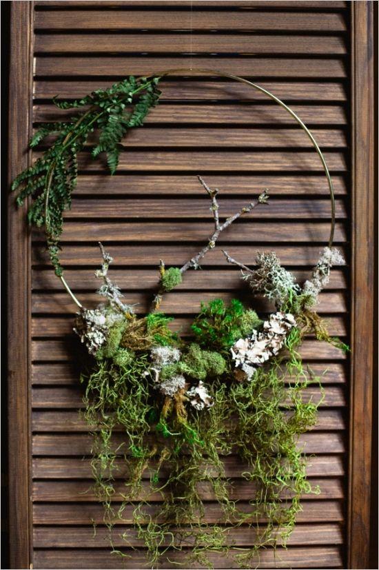 rustic moss wreath #rusticweddingdecor #diywreath #weddingchicks http://www.weddingchicks.com/2014/04/14/mystic-masterpiece-wedding-inspiration/