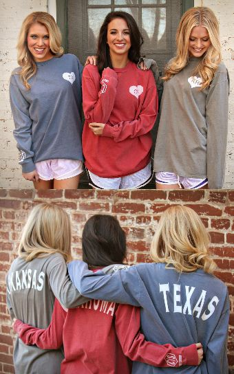 Charlie Southern State Spirit Long Sleeve Jersey State Love Tee from shopriffraff.com! #ShopRiffraff #StateLove Arkansas, Oklahoma, Texas!