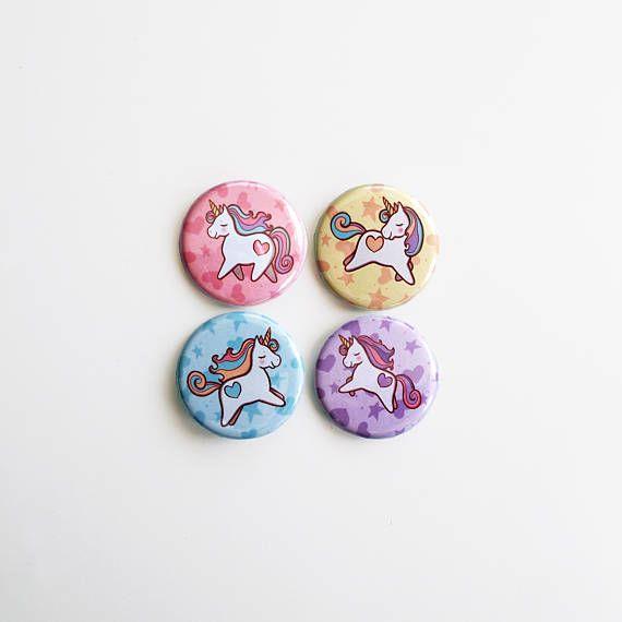 Badges Unicorns pastel ponies badge set button pack small