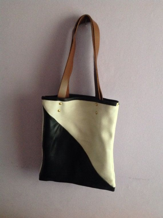 Beautiful Handmade Monochrome Leather Tote by AGOODHIDING on Etsy, £60.00
