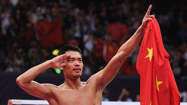 Lin Dan of China celebrates winning his Men's Singles Badminton Gold Medal match against Chong Wei Lee of Malaysia on Day 9