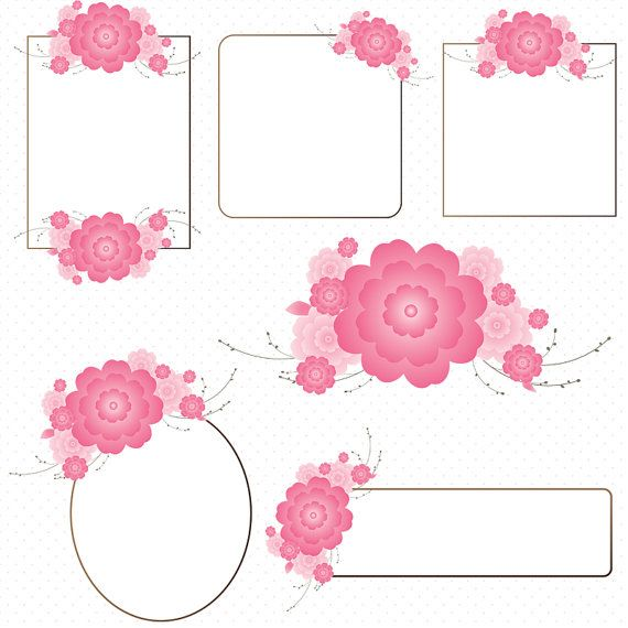 Cherry Blossom Flower Frames.  DIY invitations, decorations, logos, etc.  Small commercial and Personal use OK.  Pin for later