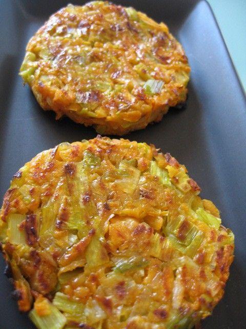 Rostis ou galette patate douce, poireau, ail, sel, poivre, cumin