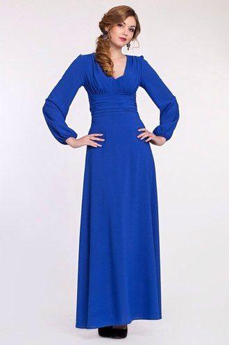 Платье цвета индиго из креп-шифона