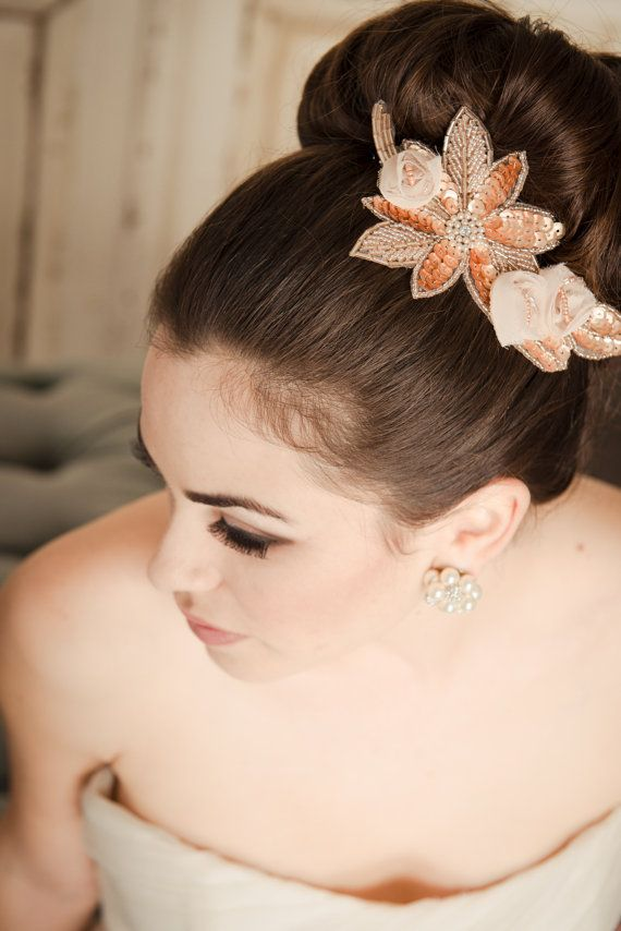 JENNY Hair Accessories Bridal Comb Rose Gold by CamillaChristine, $68.00