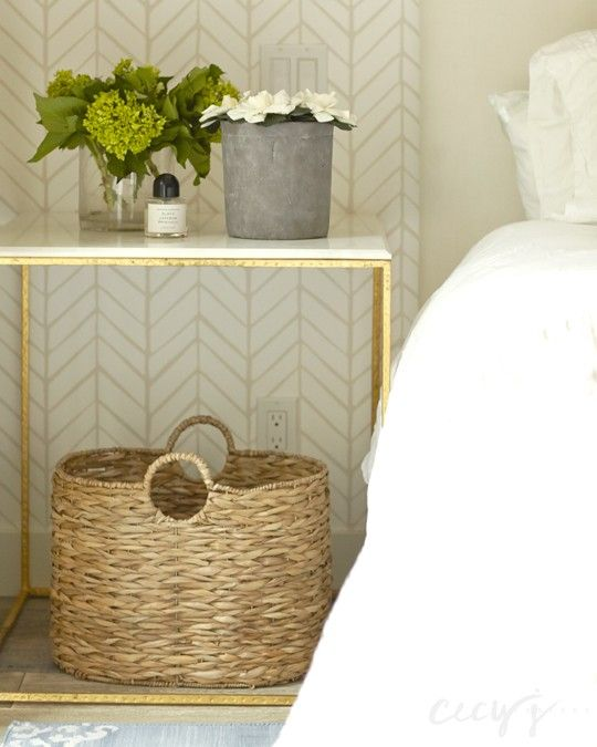 Basket under nightstand without drawers and simple pieces on top | Cecy J. Interiors