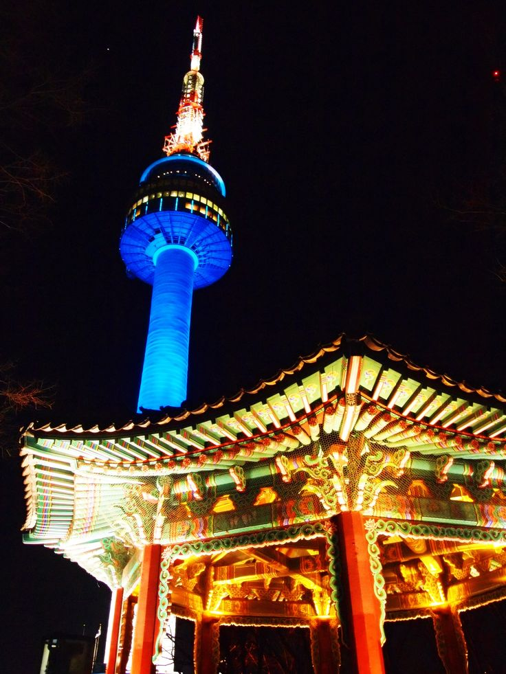 December 2013 - N Seoul Tower, Seoul South Korea. Lights lit up for the night time at Namsan Park. Climbing the tower is one of my aims during my travel. N Seoul Tower is the 5th tower in my tower-to-achieve list.