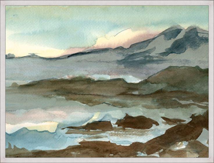 Watercolor Lake Landscape Canvas | Vintage Print Gallery