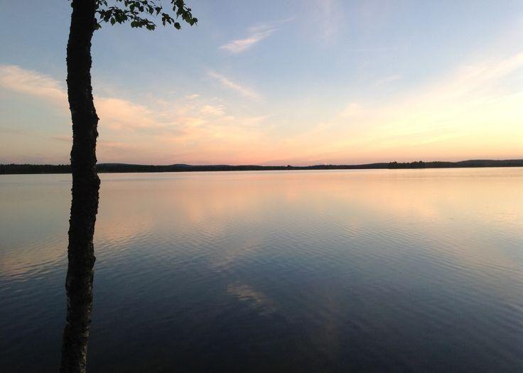 Sunset at the cottage, Norvajärvi, Rovaniemi, Finland.